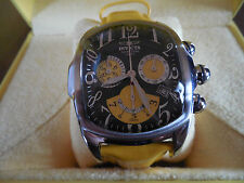 Men's Invicta Dragon Lupah Watch # 3374 Black & Yellow Dial / Leather Strap