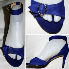 "Audrey Brooke "" Blue Ankle Strap Open Toe Pumps Size 6.5 M"