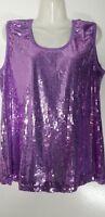 Slinky Brand Sequin Lavender Tank Top Sleeveless Purple Blouse 2X 22 24 NEW NWT