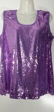 Slinky Brand Sequin Lavender Tank Top Sleeveless Purple Blouse 3X 26 28 NEW NWT