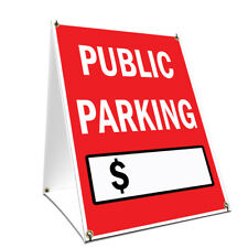 A-frame Sidewalk Sign Public Parking With Price Double Sided Graphics