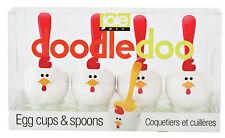 Gourmet Kitchen DOODLE Doo Egg Cups & Spoons Set 4pce