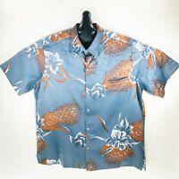 Tori Richard Vintage 70s Mens Hawaiian Aloha Shirt Gray XL