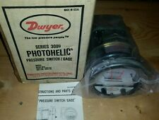 "New Dwyer Series 3000-00N Photohelic Pressure Switch/Gage Range .05-.20""w.c."