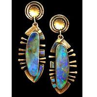 1Pair Vintage Gold Turquoise Opal Ear Studs Dangle Drop Earrings Women Jewelry