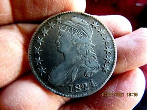 NICE ORIGINAL HIGH GRADE 1824 CAPPED BUST SILVER HALF DOLLAR