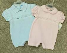 Will'beth Newborn Infant Baby Girl Boy Twins Fine Knit Layette Romper Sz 0 NWT