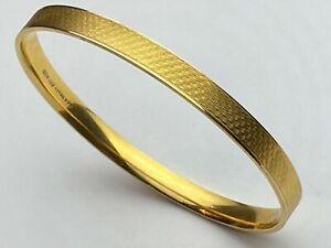 Vintage LW&G 9ct Gold on Metal Core Engraved Bangle 7.5 cm Diameter 31.3 grams