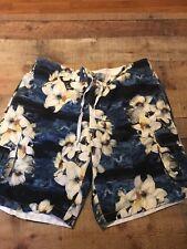 Island shores swim trunks blue floral size XXL