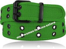 New Mens Womens Unisex Web Cotton Canvas Belt 2 Holes Black Silver Color Grommet