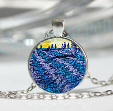 or Key Ring Jewellery Uk Fast P&P Blue Fields Yellow Sky Glass Pendant Necklace
