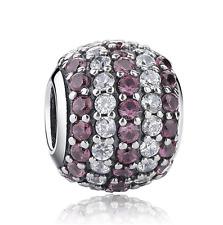 1pcs Silver European Charm Purple Crystal Spacer Beads Fit Necklace Bracelet DIY
