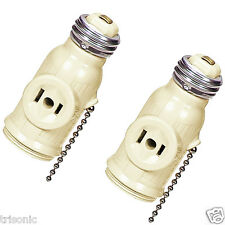 2 PCS SOCKET CONVERTER TO A LAMP HOLDER PLUS TWO OUTLETS PULL CHAIN SWITCH IVORY