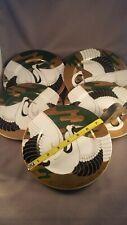 """Set (4)+1 Fitz & Floyd """"Golden Tancho Stork"""" 7 1/2 Plates - still in box!"""