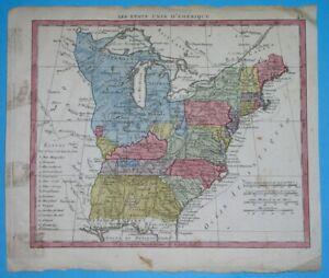 1806 RARE ORIGINAL MAP UNITED STATES NEW YORK OHIO ILLINOIS GEORGIA Army Land's