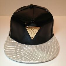 =HATER Hat= Black Leather Snapback w White Pearl Snakeskin Brim. Adjustable Cap