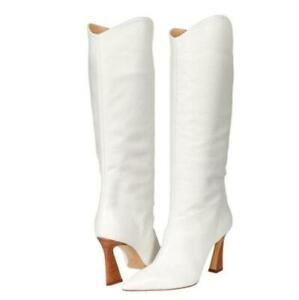 Women Pointy Toe Mid Calf Knee High Boots Faux Leather Kitten Heel Shoes 34-43 L
