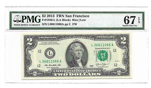 2013 $2 SAN FRANCISCO FRN, PMG SUPERB GEM UNCIRCULATED 67 EPQ BANKNOTE, NICE S/N