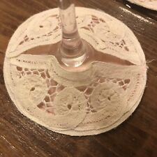 Vintage Coasters Set Of 7 Fabric Lace Handmade Wine Barware Cocktails Pink White