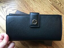 Gucci Leather Long Wallet With GG Logo, Black