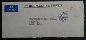 1965 Fiji O.H.M.S. Cover with Official Govt Service Suva cds to London