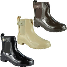 Womens Ladies Wellington Boots Winter Rain Flat Chelsea Ankle Wellies Shoes Size