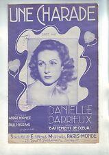 Partition Ancienne - Une Charade - daniele Darrieux - / paris monde