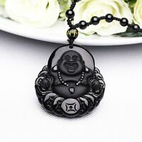 100% Natural Obsidian Hand Carved Coin Buddha Lucky Pendant Free beads Necklace