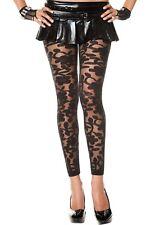 Negro Encaje Floral Lencería Sexy Diseñador De Moda calzas sin pies P35344
