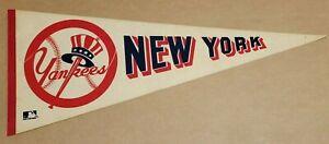 New York Yankees Logo over baseball 1970's Vintage Baseball Team Pennant