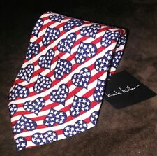 Nicole Miller Stars Stripes Hearts red white blue flag 100% silk tie