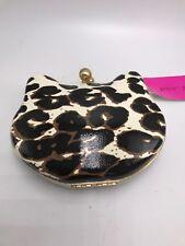 Betsey Johnson Here Kitty Crossbody Clutch Leopard Hard Shell Cat Shape