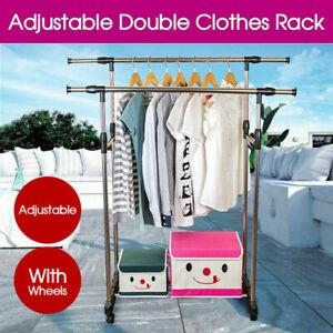 Clothes Rack Double Stainless Shelf Hanger Garment Holder Adjustable Coat AU