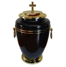 SPLENDIDO METALLO NERO Urna cremazione CON ORO CROCE FUNERALE per adulto Ceneri