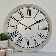 Large Hamptons Blue White Metal Timber Wall Clock, 60 cm