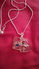 Hand wire wrapped, hand drilled, Lake Erie beach glass, 18 inch necklace