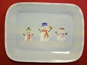 "SNOW PEOPLE Hartstone Pottery Snowman Platter 12"" x 9 1/2"" handpainted 1995"