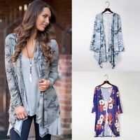 Women Cardigan Shirt Kimono Boho Cardigan Floral Print Blouse Loose Outwear Tops