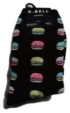 K Bell Macaroons Black Crew Socks Womens 9-11 NWT 1 pair casual novelty