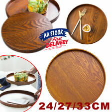 Serving Tray Solid Wood Server Dishes  Platter Round  Tea Fruit Food