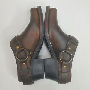 FRYE Boots 70760 - Distressed Brown Belted Harness Mule Womens Size 7.5 M