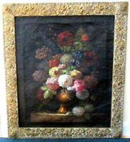 19c FLEMISH BAROQUE STILL LIFE FLOWERS OIL PAINTING DUTCH ORIGINAL FRAME, SIGNED