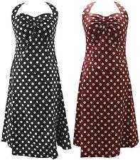 10-30 BLACK RED WHITE 50's POLKA DOT SWING SUMMER HALTERNECK COTTON DRESS PLUS