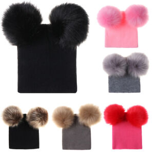 Autumn Winter Baby Cable Knitted Warm Hat Toddler Dual Pom Poms Ball  Beanie Cap
