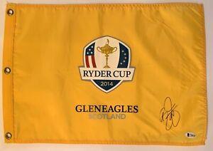 Rickie Fowler signed Ryder Cup flag 2014 gleneagles golf pga beckett coa