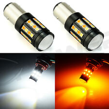 2XAmber White Dual Color Switchback 40-SMD LED 1157 Front Turn Signal Light Bulb