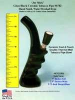 Water Smoking Hookah Bong Tobacco Pipe Black #0782 Ceramic Glass Hand Made USA