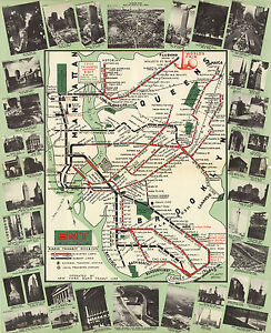 """1939 New York Subway Map BMT Rapid Transit Elevated Lines Wall Art Print 11""""x14"""""""