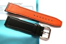 Strap 20mm Black Orange Leather 20/18mm Pilot Mark Portofino Portuguese IWC Styl