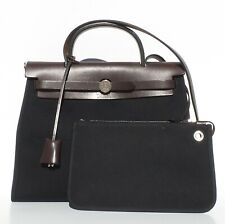 1d136284bb25 HERMES Herbag Zip 31 Black Canvas Chocolate Brown Leather Palladium HW +  Pouch